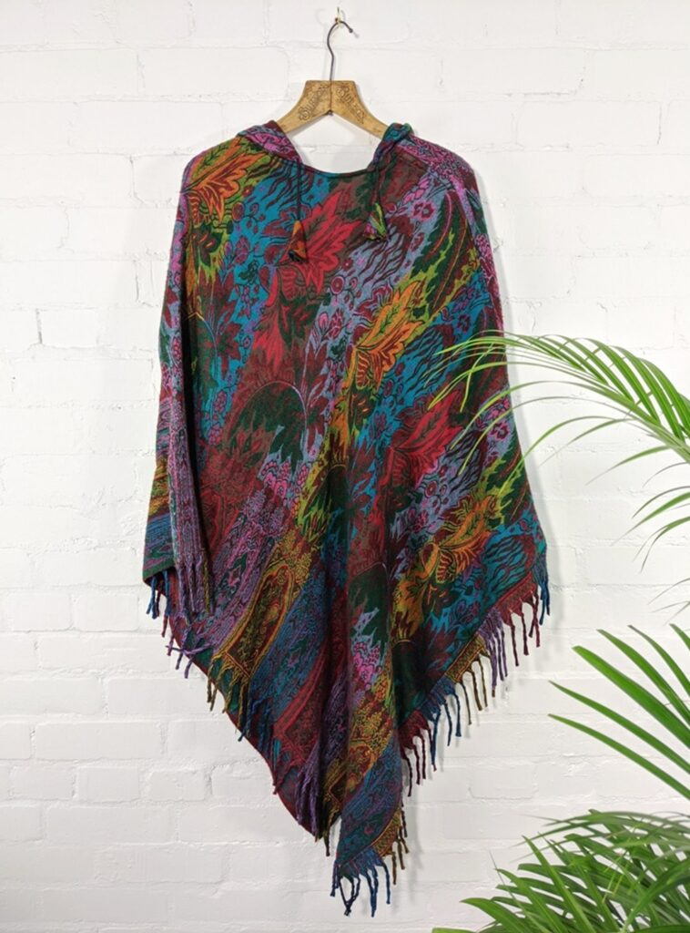Assorted Stripe Cashmelon V Shaped Hooded Poncho by Gringo