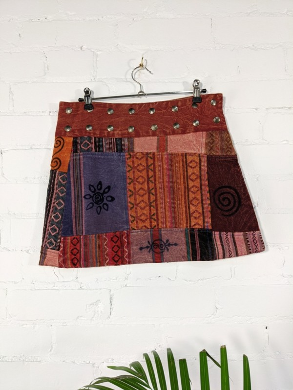 Gheri Patchwork Short Skirt