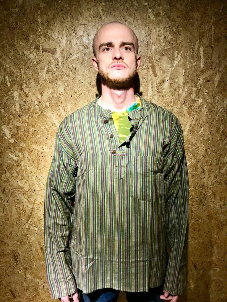 Assorted Nepalese Stripe Grandad Style Collar Shirts