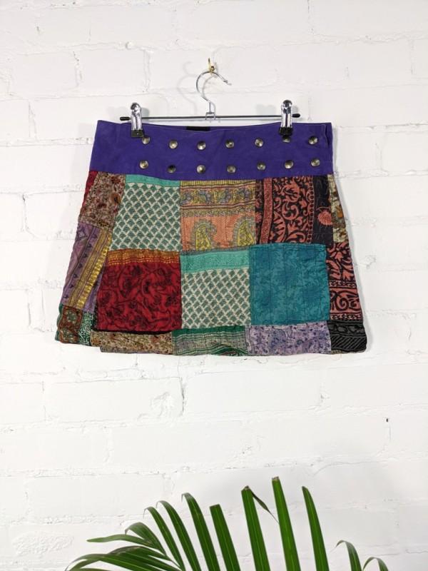Patchwork Short Wrap Skirt
