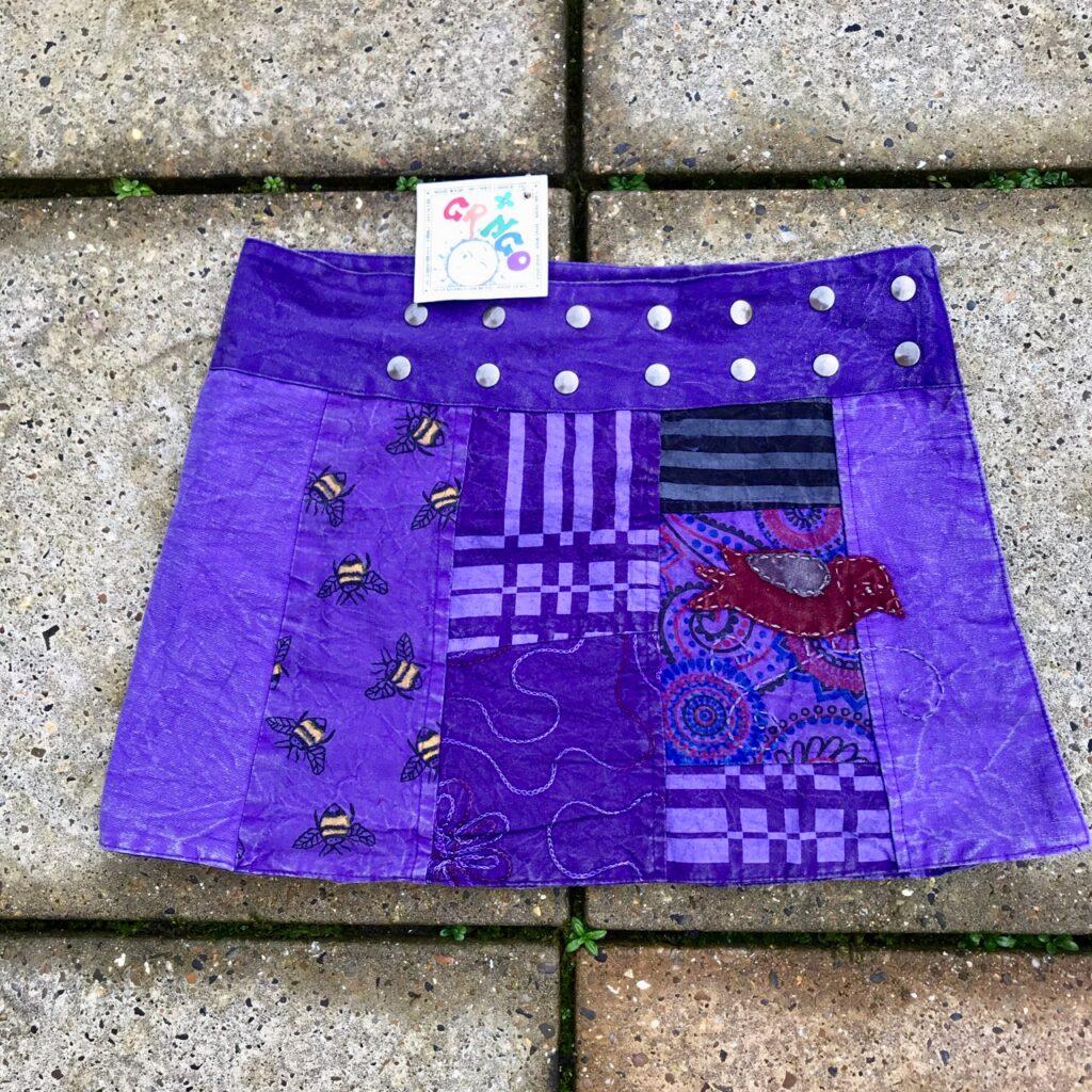Cotton Patchwork Detail Short Wrap Skirt