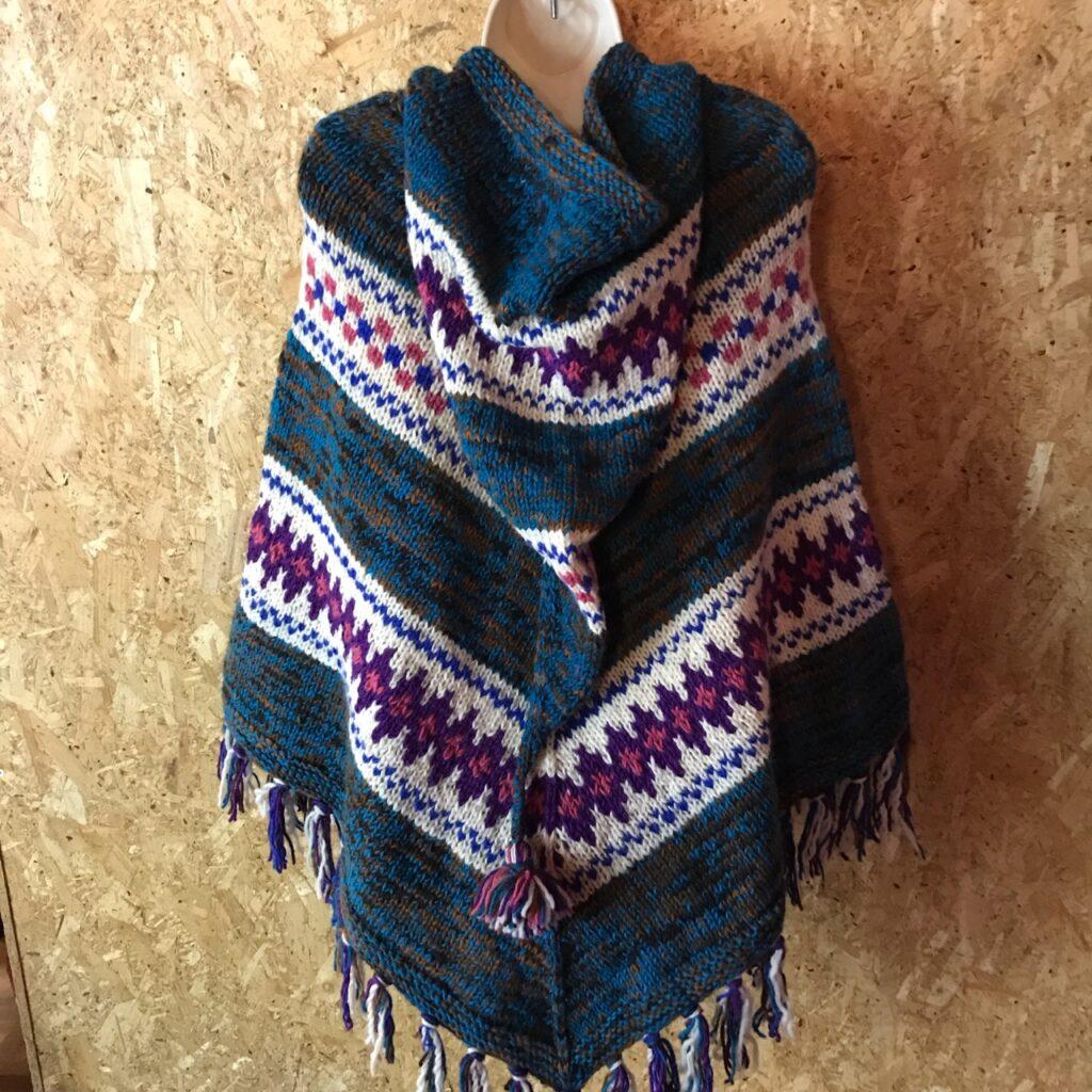 100% Wool Multi Knit Hooded Poncho