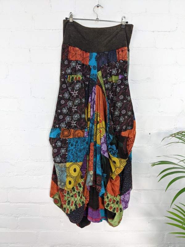 Cotton Patchwork Balloon Style Skirt by Gringo
