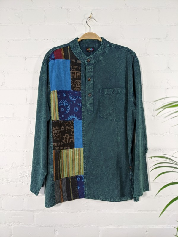 Cotton Patchwork Panel 3 Button Shirt by Gringo