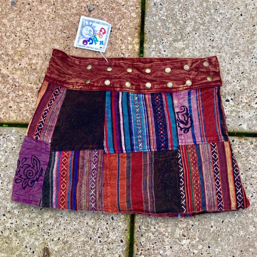 Cotton Multi Patchwork Short Wrap Skirt by Gringo