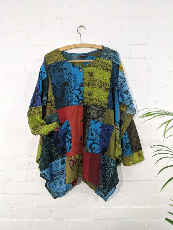 Cotton Multi Patchwork Full Button Top by Gringo