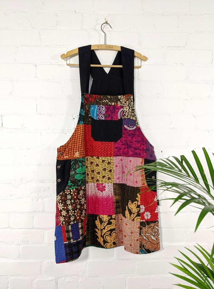 Cotton Dungaree Patchwork Dress With Kathna Stitch by Gringo