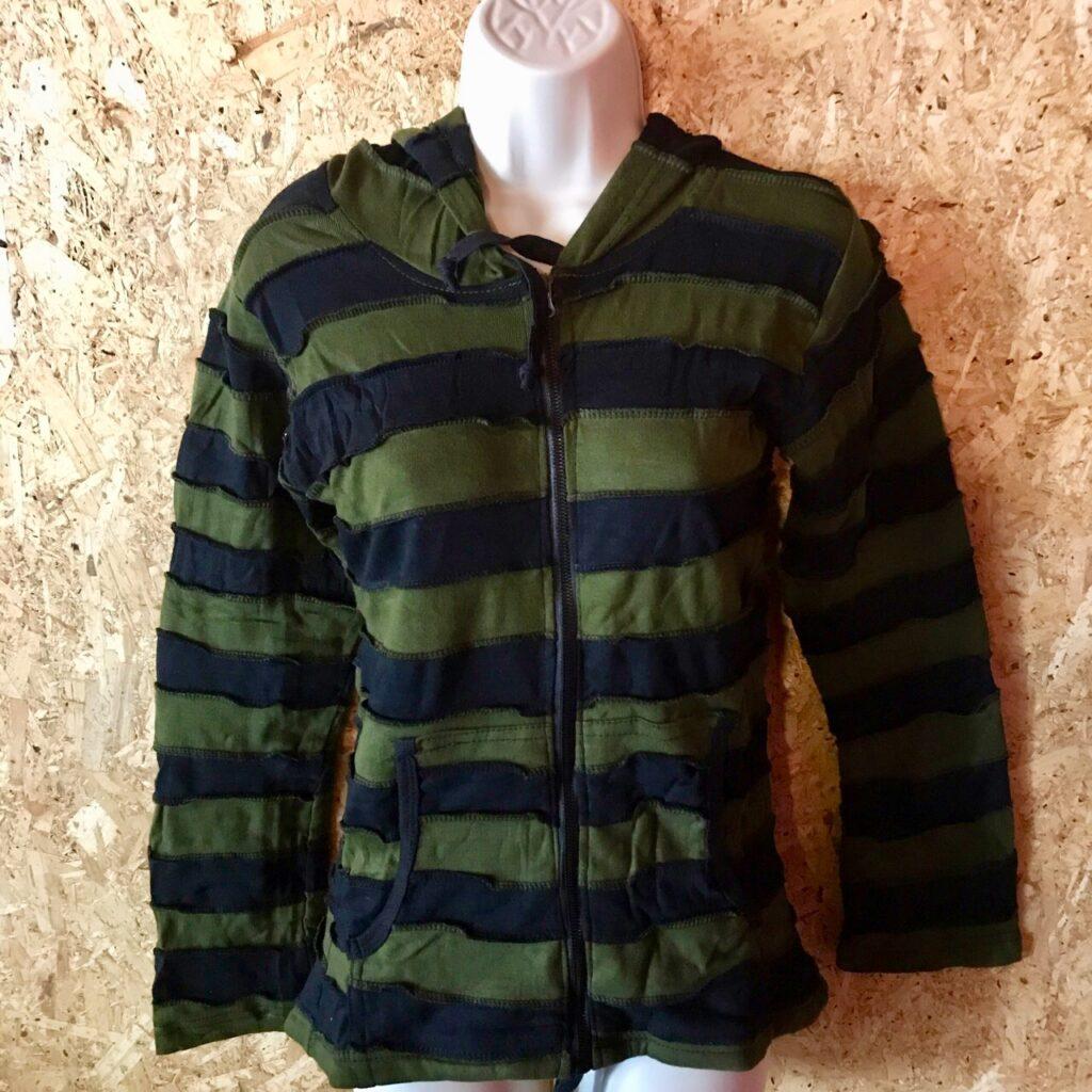 Nepalese Green-Black Full Zipped Pixie Hooded Jacket