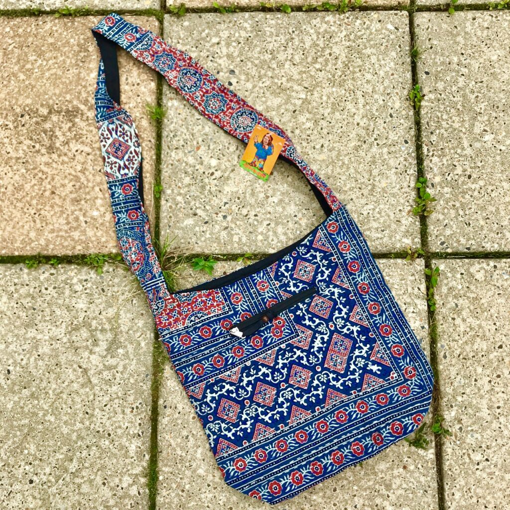 Nepalese Assorted Print Shoulder Bag With Kathna Stitch