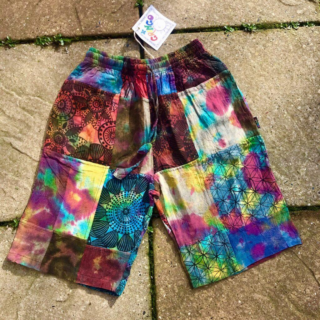 Cotton Multi Patchwork-Tie Dye Shorts by Gringo