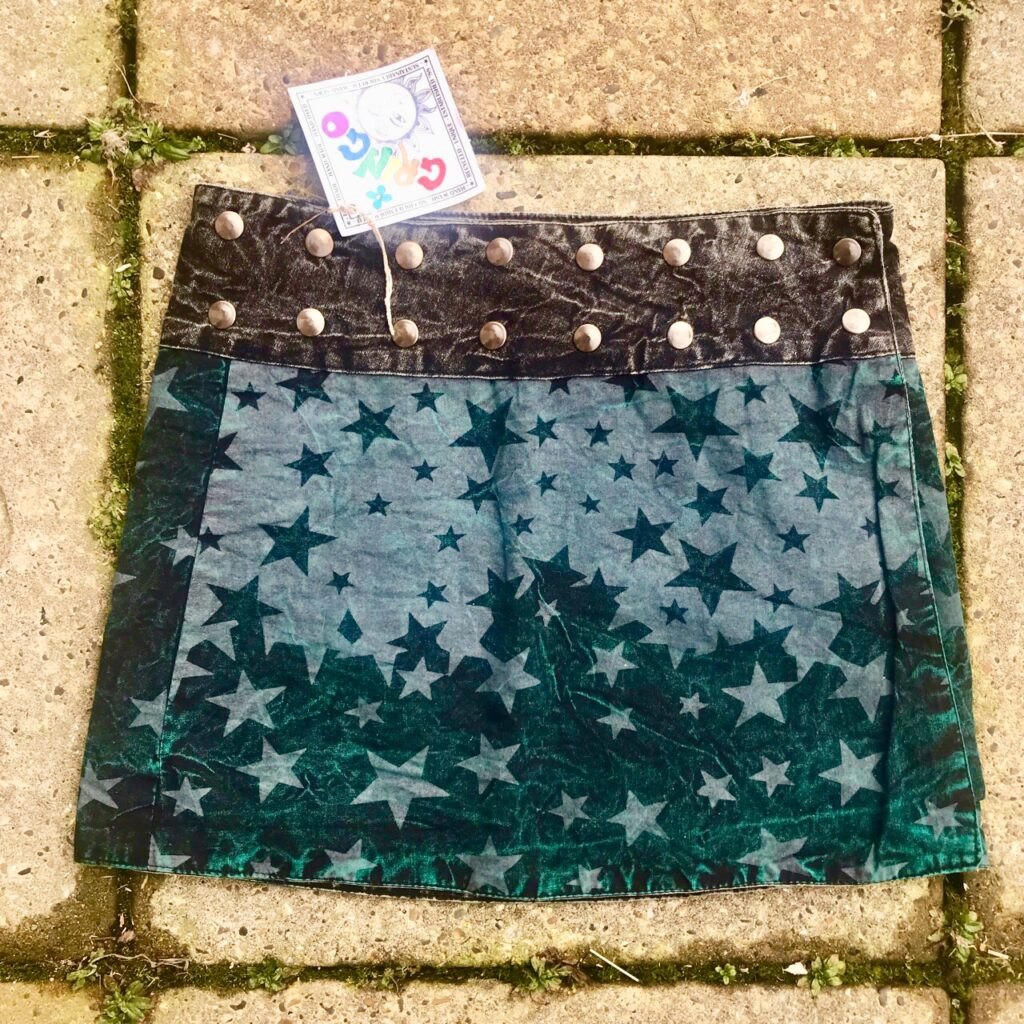 Popper Style Wrap Star Print Short Skirt by Gringo
