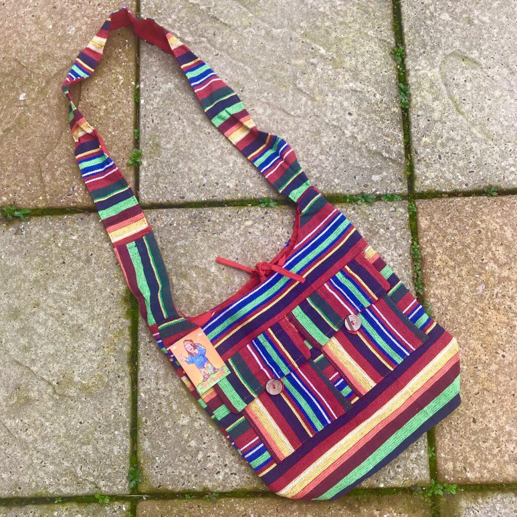 Gheri Cotton Stripe Shoulder Bag by Hippy Buddy