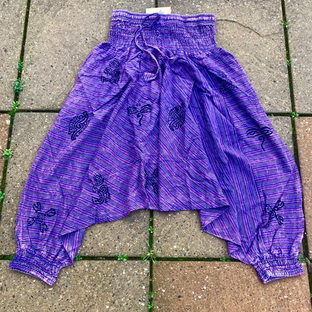 Nepalese Harem Pants With Screen Print Detail by Little Kathmandu