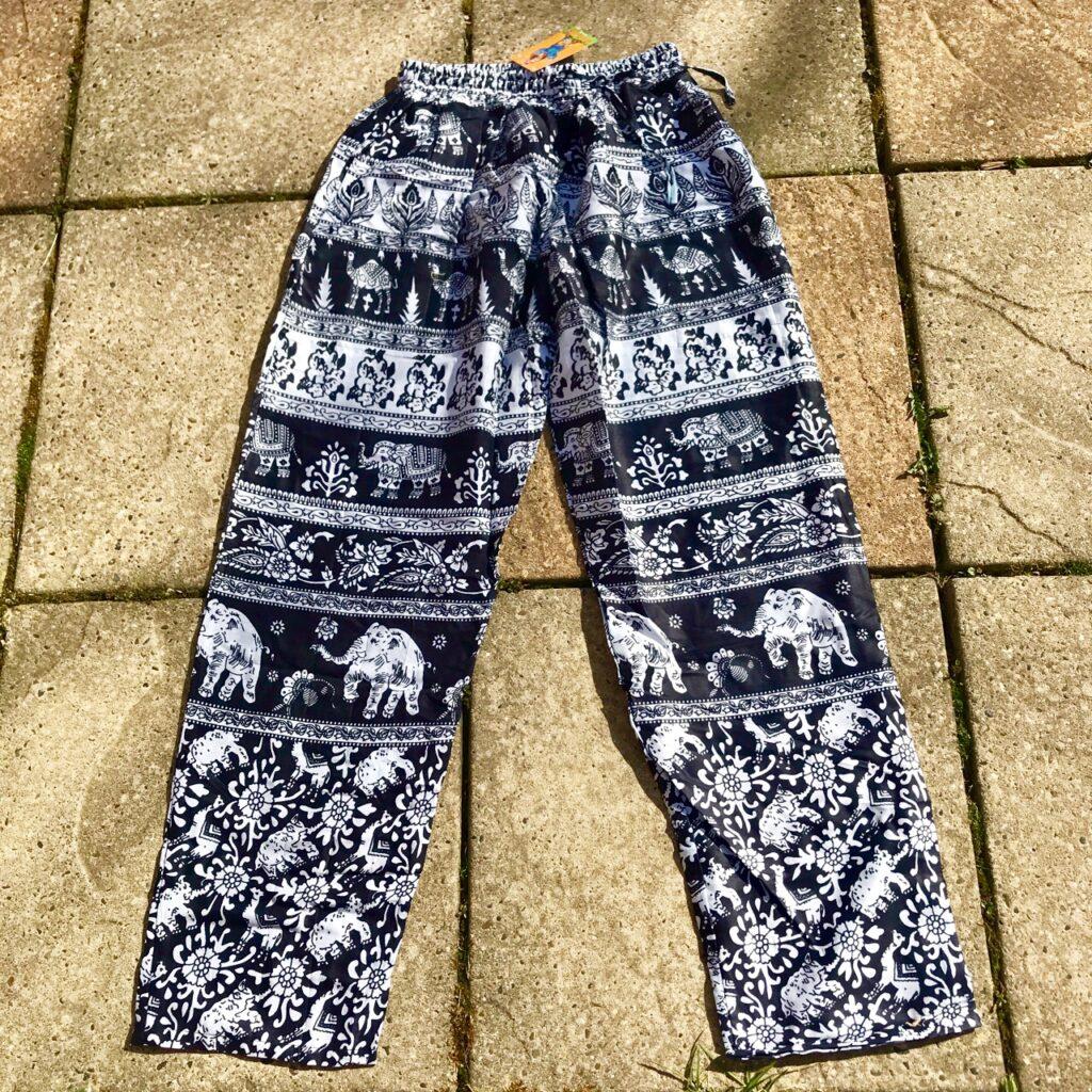 Rayon Straight Leg Elephant Print Pants