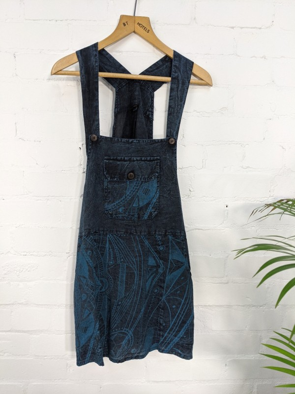 Nepalese Dungaree Screen Print Short Dress by Gringo