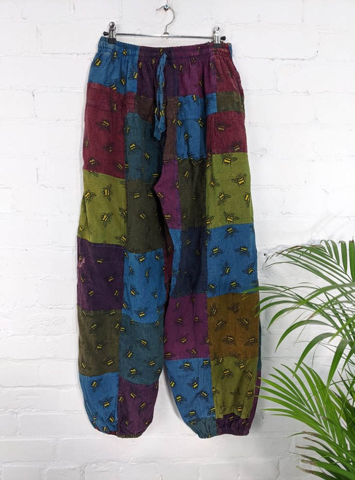 Cotton Patchwork Aladdin Style Pants With Bee Print   by Gringo