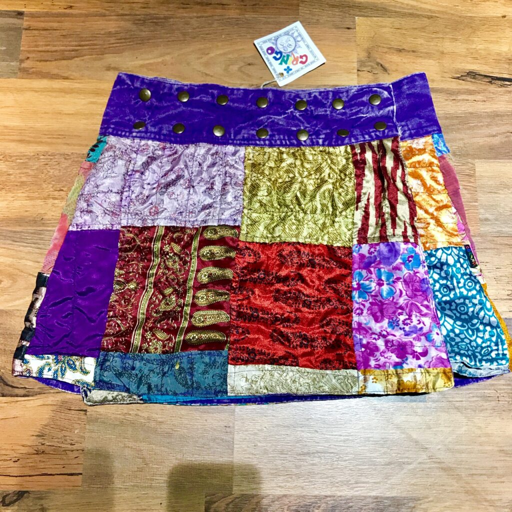 Recycled Sari Patchwork Popper Style Wrap Short Skirt by Gringo