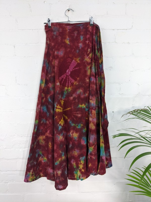 Tie Dye Long Wrap Skirt