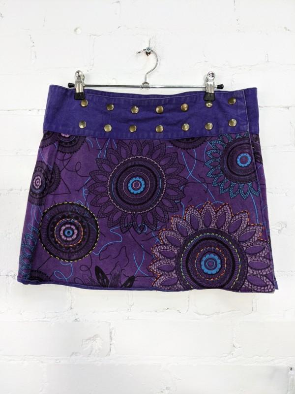 Screen Print Popper Wrap Short Skirt by Gringo