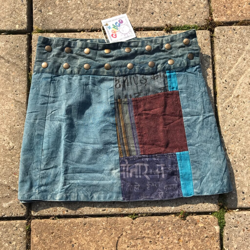 Nepalese Patchwork Panel  Popper Wrap Skirt by Gringo