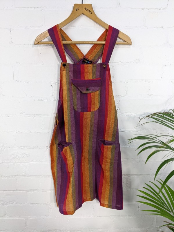 Rainbow Stripe Dungaree Short Dress