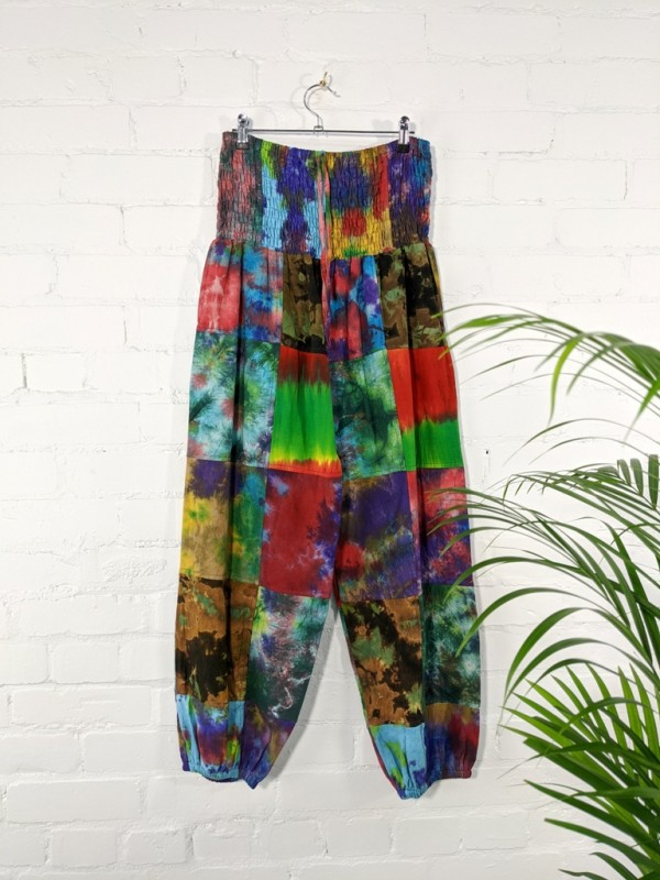 Cotton Patchwork Tie Dye Aladdin Style Pants by Gringo