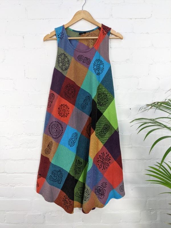 Cotton Patchwork Print Sleeveless Dress by Gringo