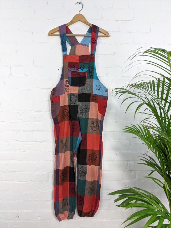 Cotton Patchwork Print Dungarees by Gringo