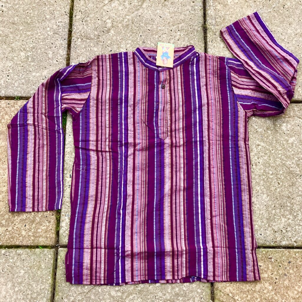 Cotton Stripe Grandad Style Shirt By Hippy Buddy