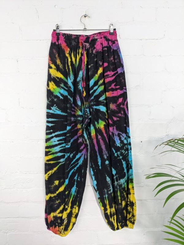 Cotton Black-Tie Dye Aladdin Style Pants by Gringo