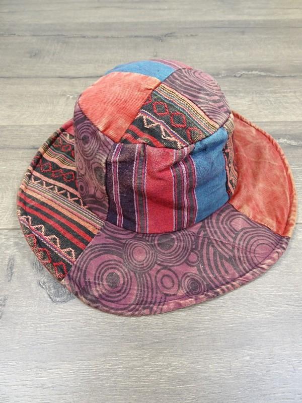 Cotton Stonewashed  Patchwork Wide Brim Hat Assorted Colours