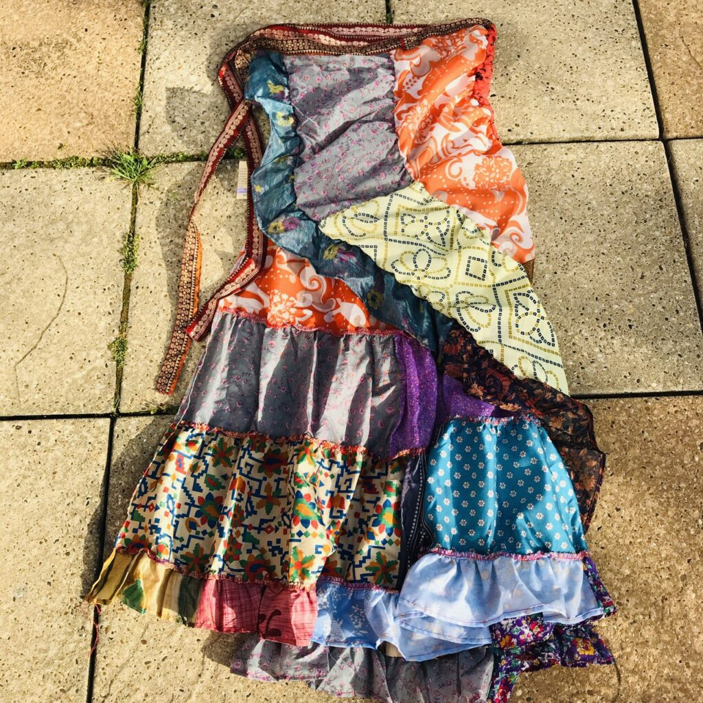 Nepalese Sari Tiered Flamenco Style Wrap Skirt