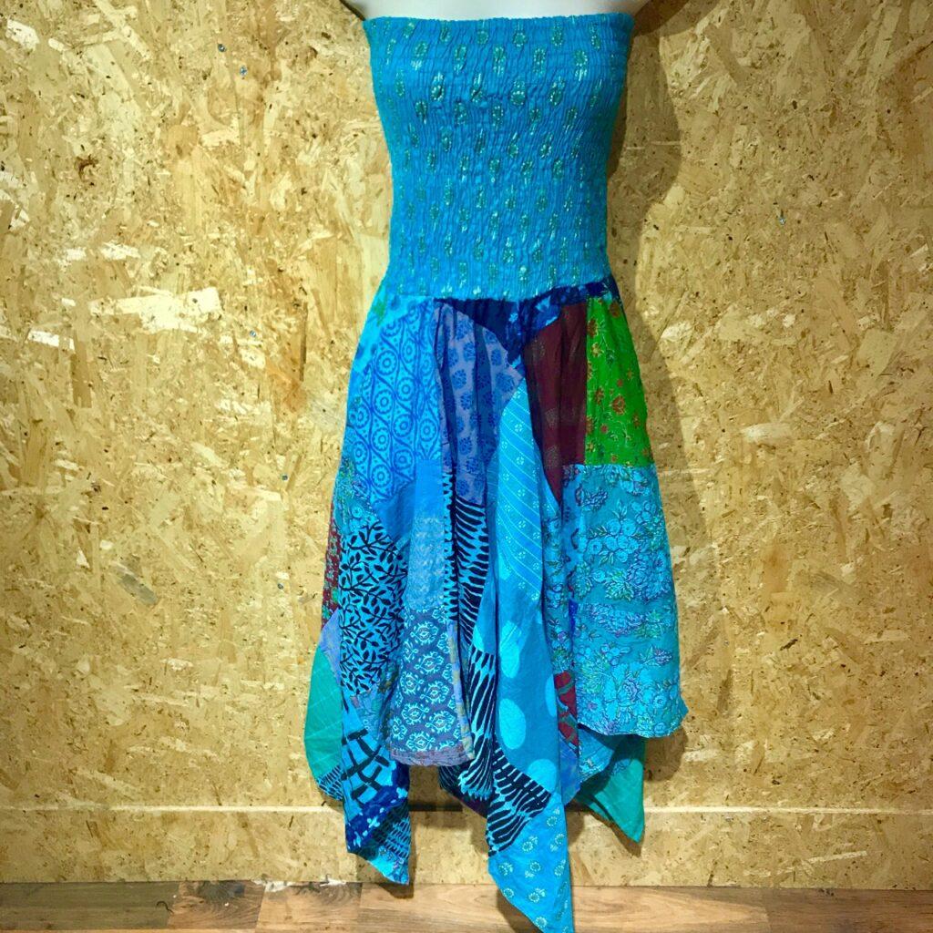 Cotton Patchwork Pointy Hem Boobtube Dress