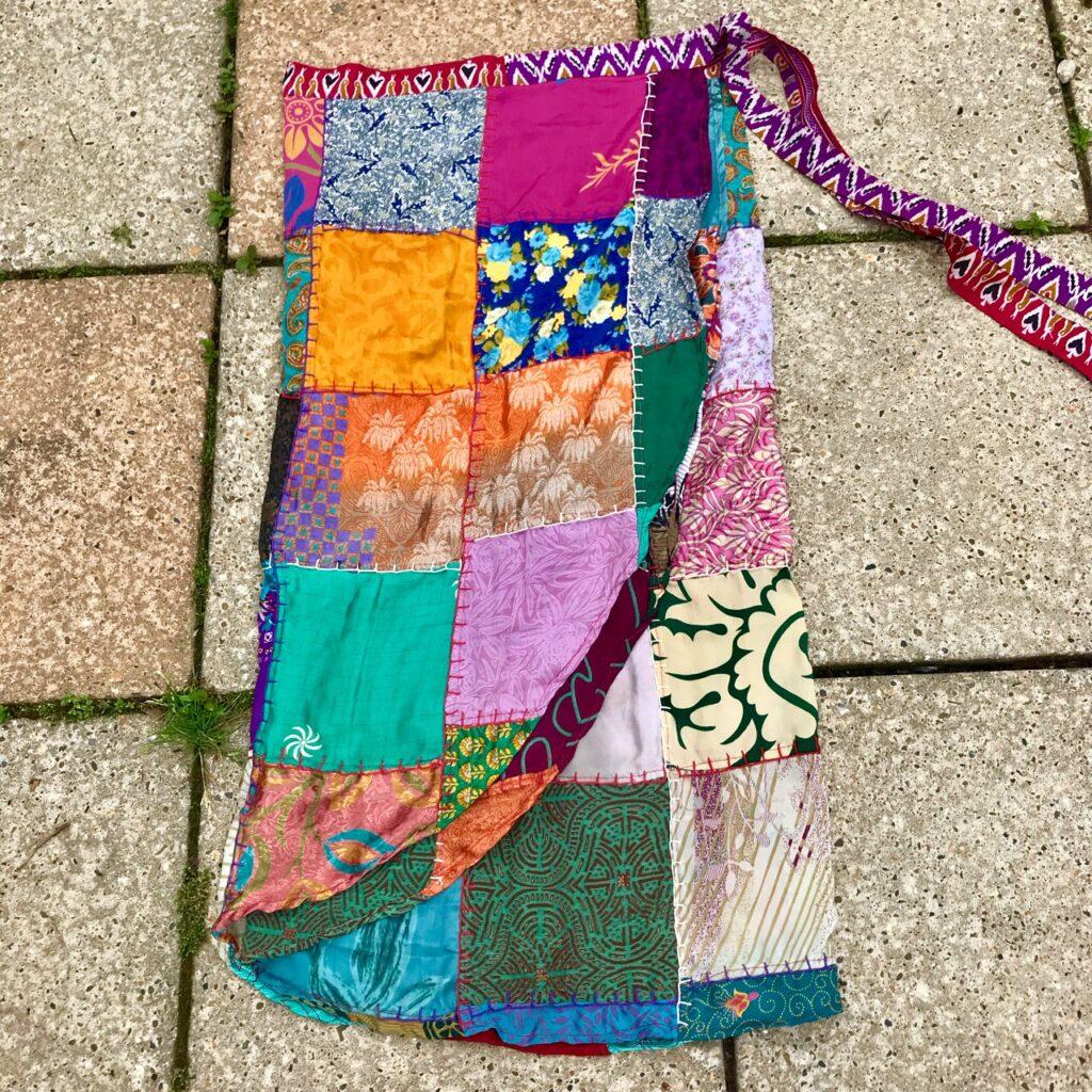 Nepalese Sari Patchwork Wrap Sarong-Skirt
