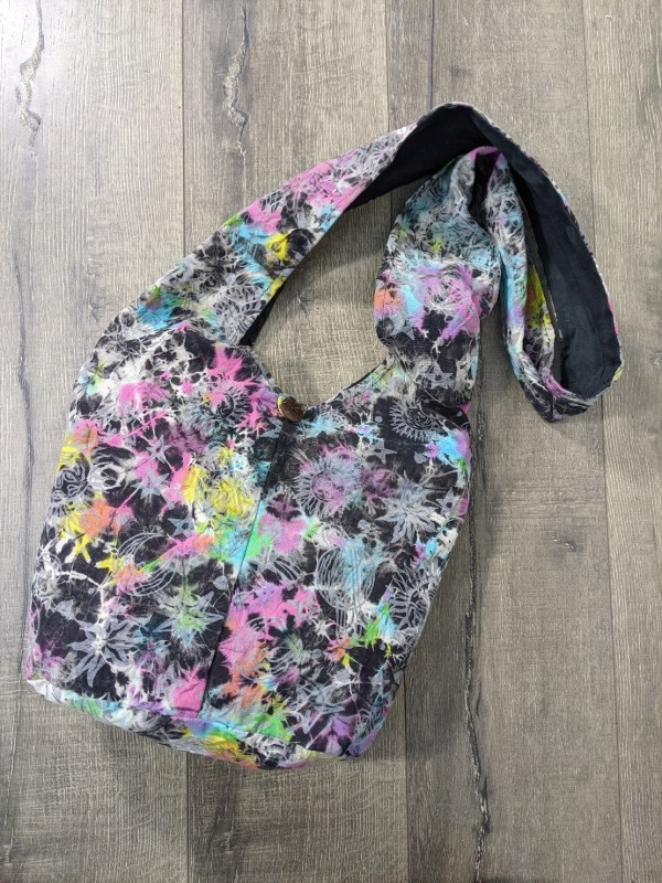 Cotton Tie Dye Screen Print Shoulder Bag by Gringo