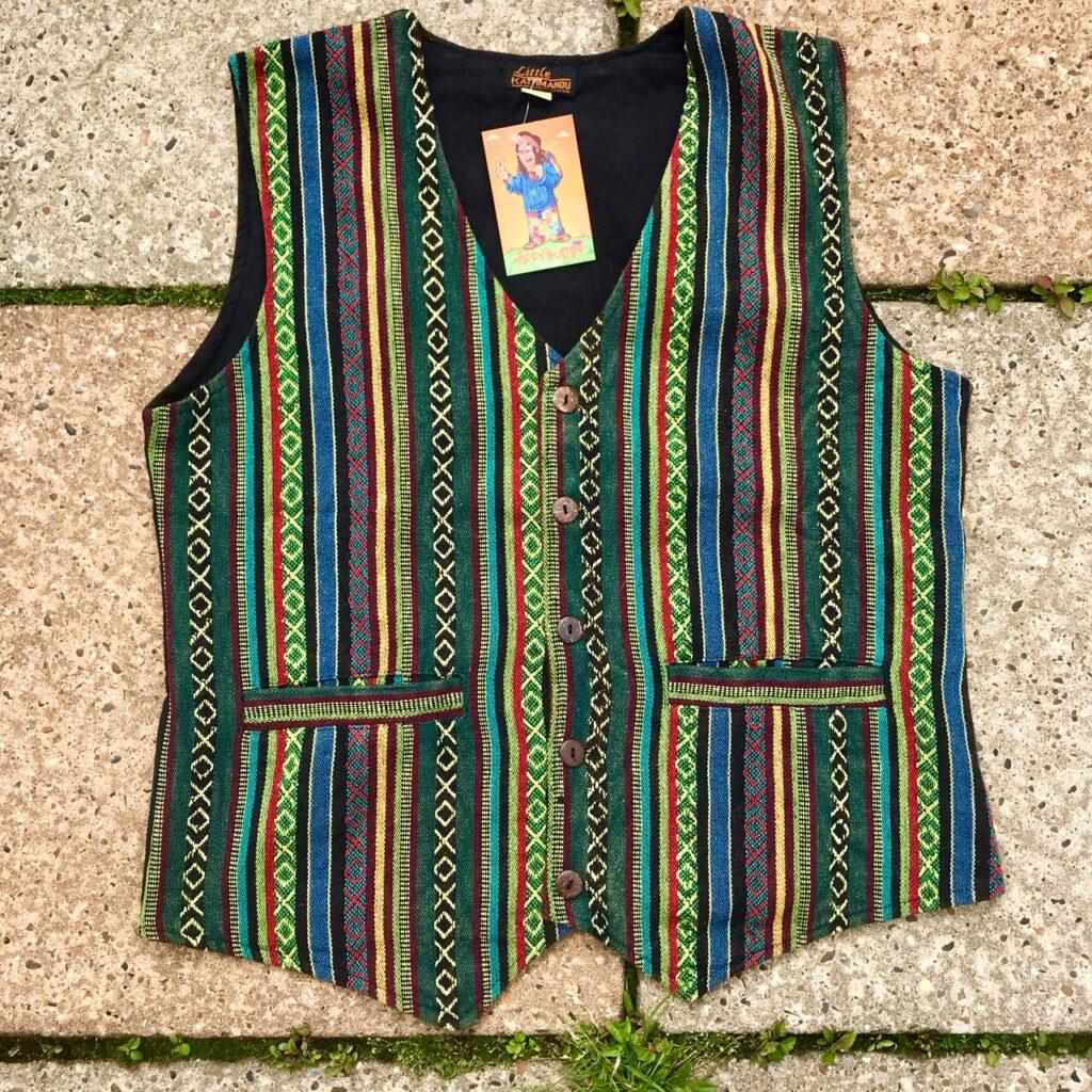 Gheri Cotton Waistcoat Green Multi Stripe