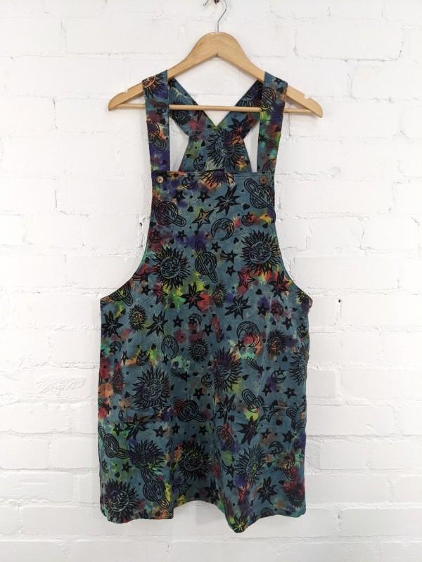 Print Dungaree Dress