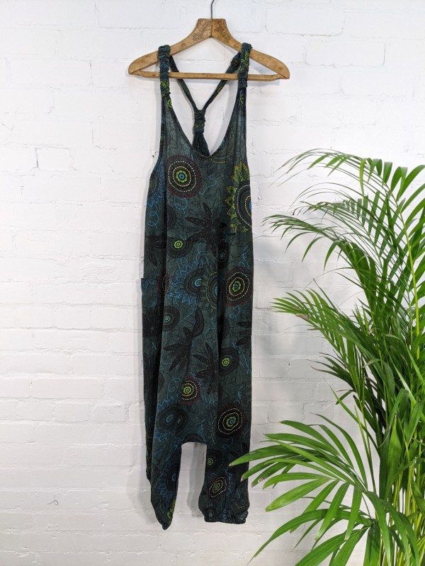 Screen Print Dungaree-Jumpsuit by Gringo