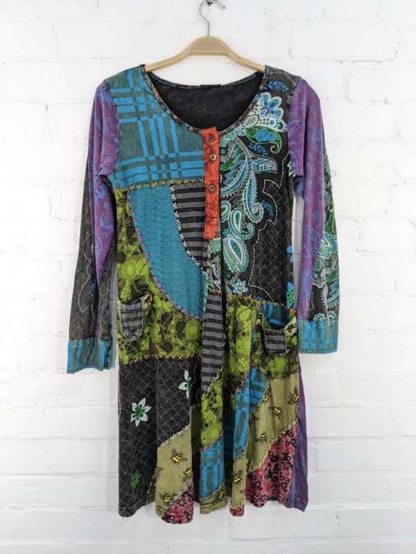 L/S Patchwork Dress
