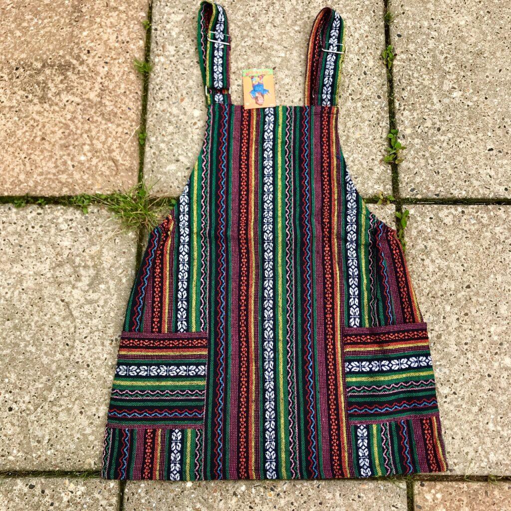 Gheri Stripe Cotton Short Dungaree Dress